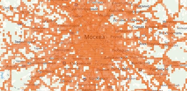 Зона покрытия МТС в Москве 2G
