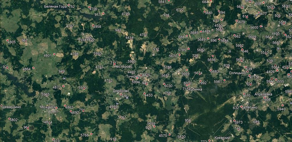 Местоположение сотовых вышек на западе МО