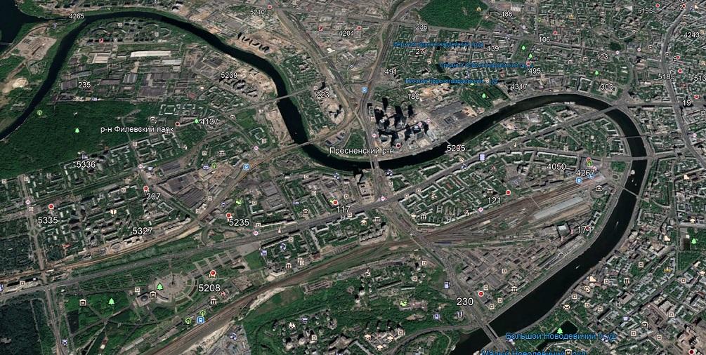 Карта базовых станций МТС на западе Москвы