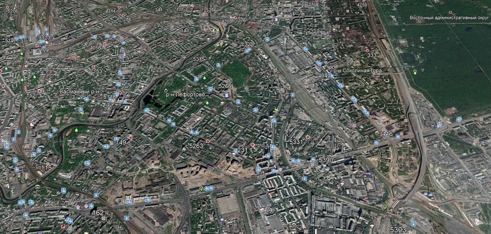 Карта сотовых вышек на востоке Москвы