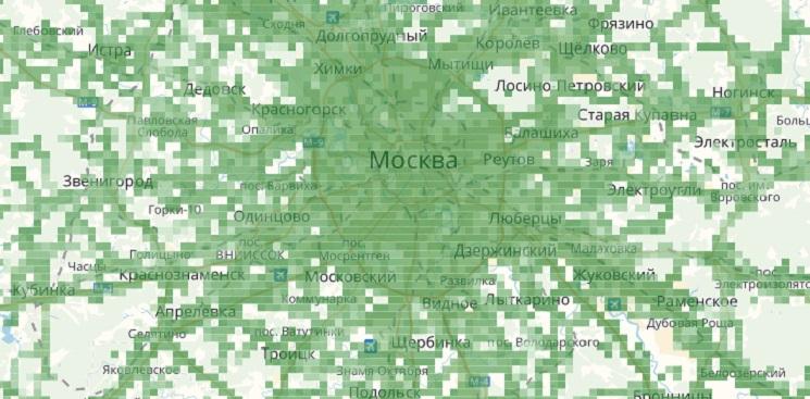 Зона покрытия МТС 3G в Москве