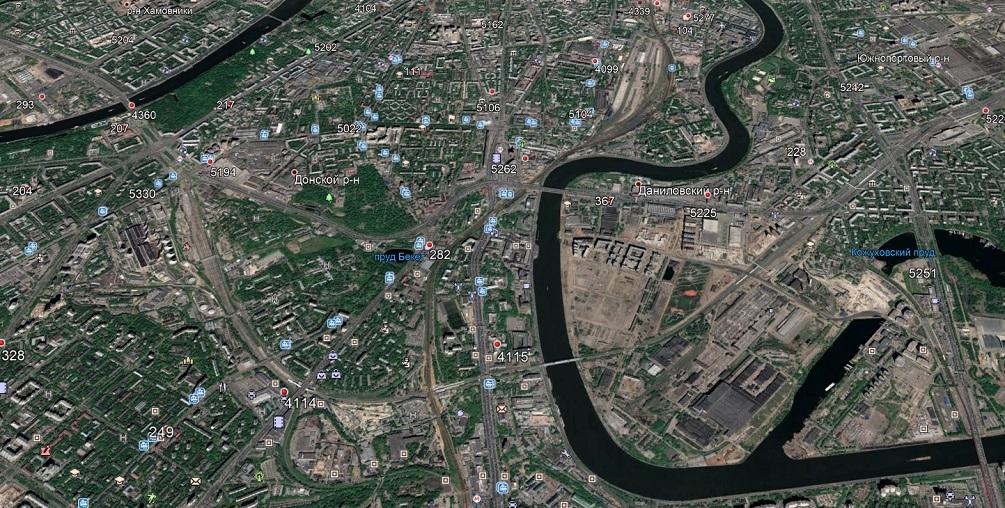 Карта БС МТС на юге Москвы