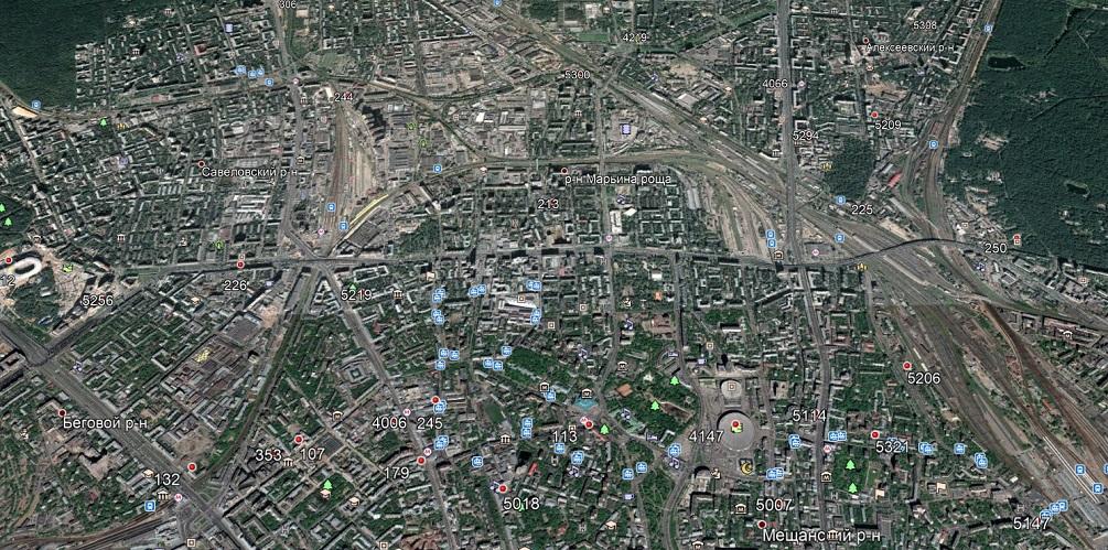 Карта базовыз станций МТС на севере Москвы